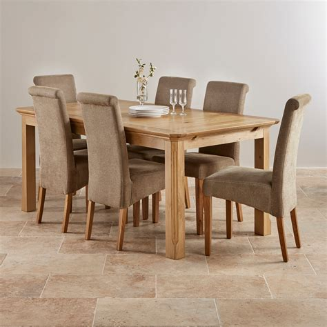 Oak Dining Table Sets Edinburgh Solid Oak Dining Set 6ft Extending Table With 6 Scroll Back Plain