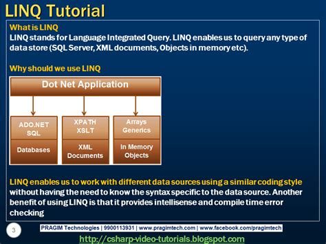 tutorial linq to xml sql server net and c video tutorial part 1 what is linq