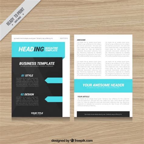 magazine template design with blue elements vector free