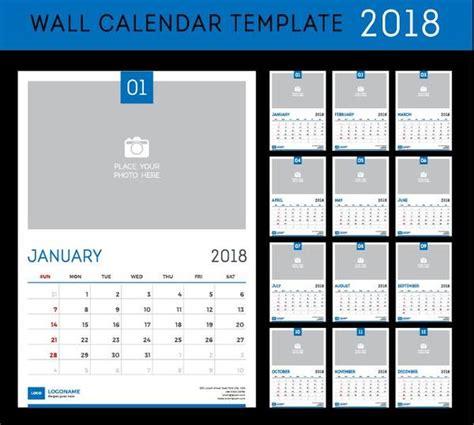 Wall 2018 Calendar Template Vector Material Free Download Wall Calendar 2018 Template