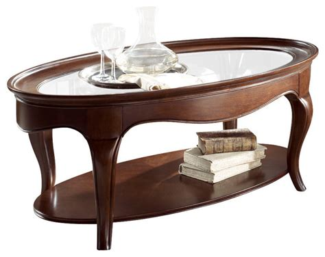 american drew cherry grove ng oval glass cocktail table in