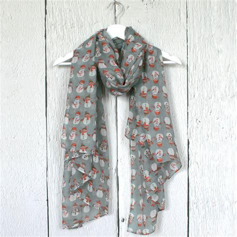 jolly snowman print scarf by hayley co