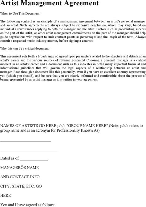 Artist Management Contract Templates Download Free Premium Templates Forms Sles For Artist Management Contract Template Free