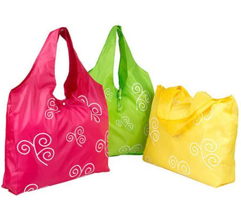 Roll Up Shopping Bag by Set Of 3 Reusable Roll Up Shopping Bags Page 1 Qvc