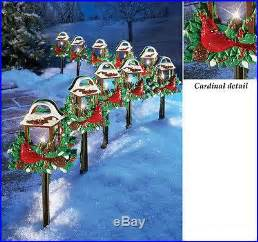 solar christmas pathway lights set of 10 red birds christmas outdoor holiday yard lights