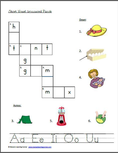 Vowel Sounds Worksheets For Kindergarten by Vowel Crossword Puzzle Worksheets Printables For