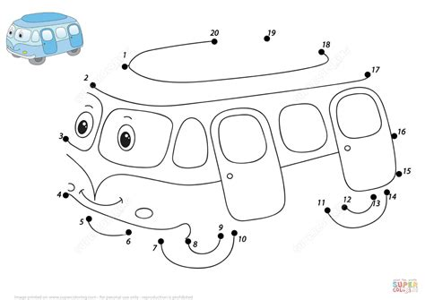 Cute Cartoon Bus 1 20 Dot To Dot Free Printable Vw Coloring Page