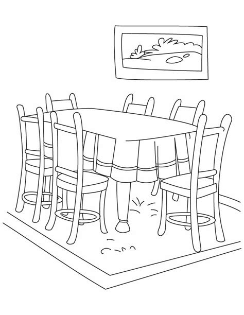 coloring page of a kitchen table dinning table coloring pages download free dinning table