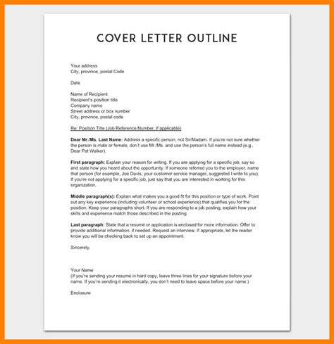 6 outline of cover letter address exle