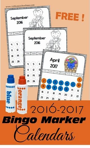 Bingo Calendar 2016 2017 Bingo Marker Calendars