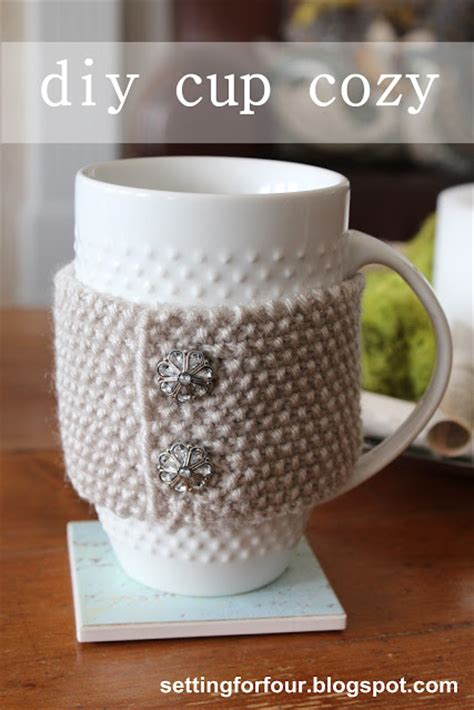 knitting pattern for cup cozy diy knit cup cozy mug cozy page 2 of 2 setting for four