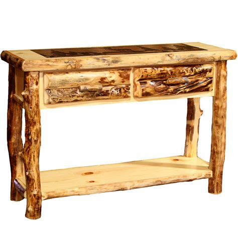 Slate Sofa Table by Rustic Tables Aspen Sofa Table With Slate Top With Cowboy