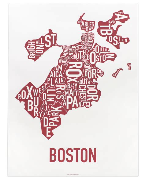 boston map poster boston neighborhood map 18 quot x 24 quot who poster