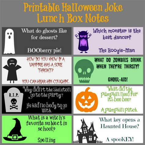 halloween themed jokes printable halloween joke lunch box notes or tags my