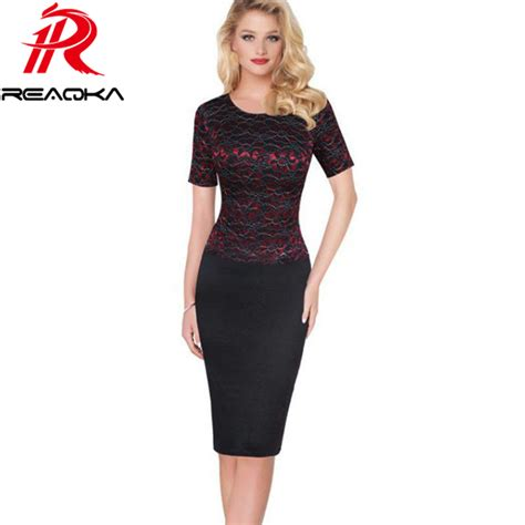 Dress Kerja Stylish New Impor work dresses summer dress vintage womens gold line office lace dress 2017 new