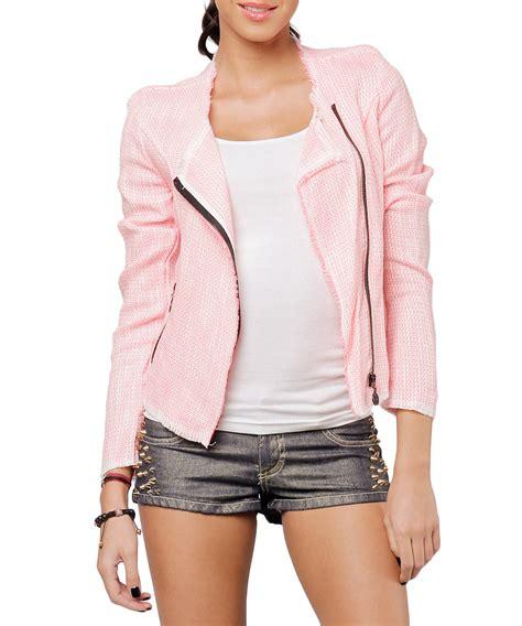 cropped zip jacket cocogio light pink cropped zip jacket designer jackets