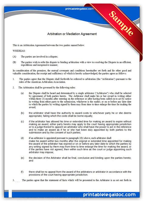 arbitration template free printable arbitration or mediation agreement form