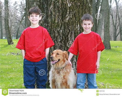 golden retriever with children children with golden retriever stock images image 5072104