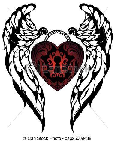vecteurs de tatouage ailes amour ange amour tatouage