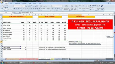 excel tutorial in hindi pdf ms excel 2007 vlookup formula in hindi a k singh