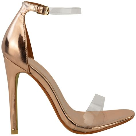 clear heel sandals womens high heel barely there clear perspex sandals