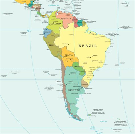 south america map with cities printable political map of south america images