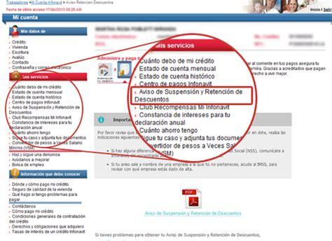 infonavit hoja de retencion de salario aviso retenci 243 n infonavit credito hipotecarios