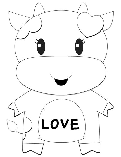 cartoon girl cow valentine coloring page h m coloring
