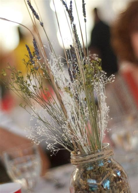 country rustic wedding wheat lavender babys breath cat