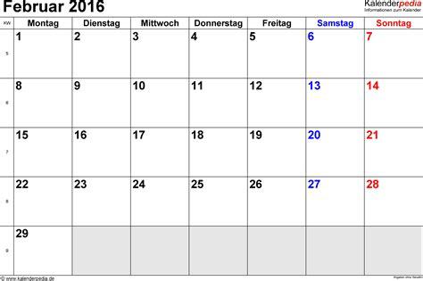 Kalender 2016 Monatsweise Kalender Februar 2016 Als Pdf Vorlagen