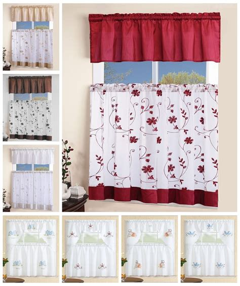3 piece white embroidered kitchen curtain with swag and