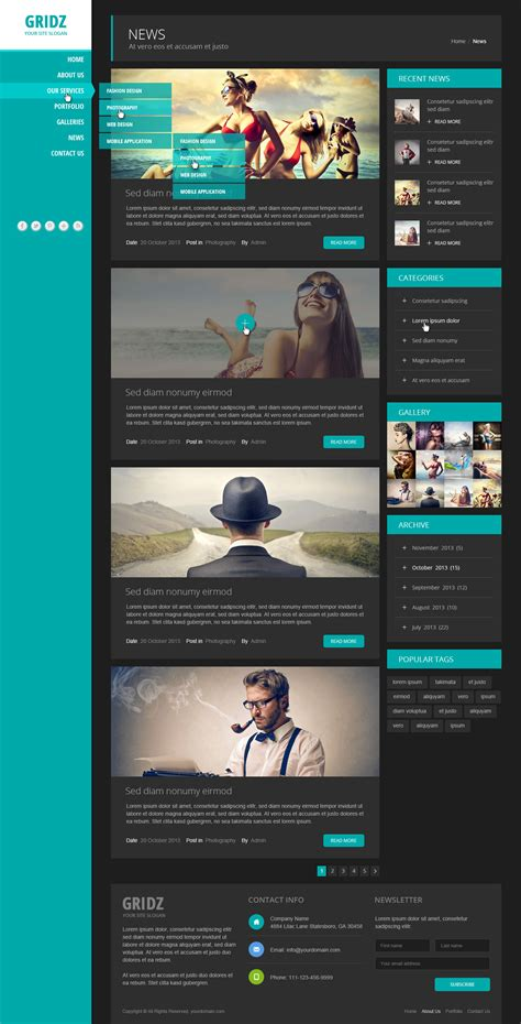 Gridz Responsive Html5 Template By Pophonic Themeforest Site Template