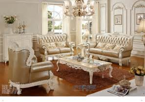 Solid Oak Living Room Furniture Sets Luxury European Royal Style Golden Oak Solid Wood Leather Sofas Couches Living Room Furniture