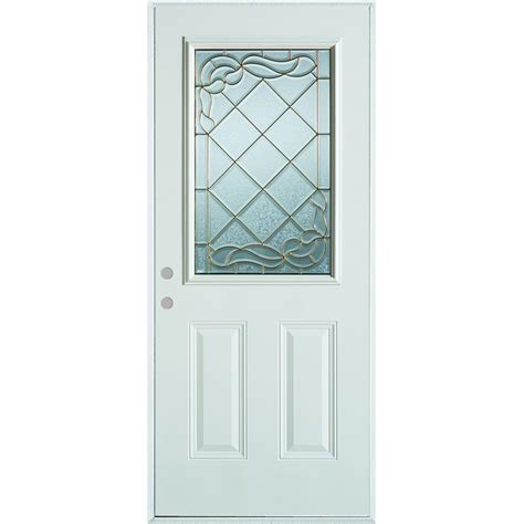 Stanley Exterior Door Stanley Doors 32 In X 80 In Deco 1 2 Lite 2 Panel Painted White Steel Prehung Front Door