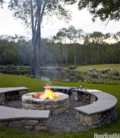 pit sitting area lake house landscaping exterior inspiration