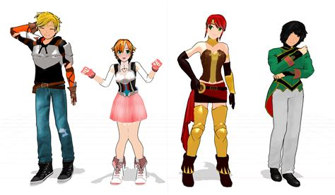 mmd team jnpr rwby ready for download by miku