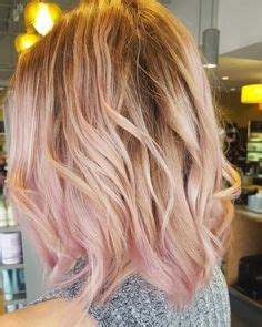 pink highlight on the end tween rose gold rose gold hair color rose gold balayage