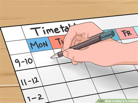 create timetable how to make a timetable 15 steps with pictures wikihow
