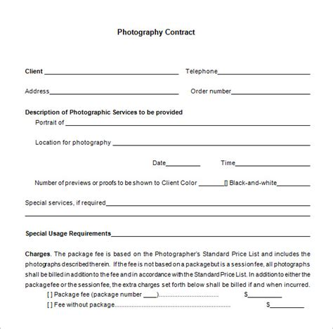 wedding weddingaphy contract free contracts templates form sample