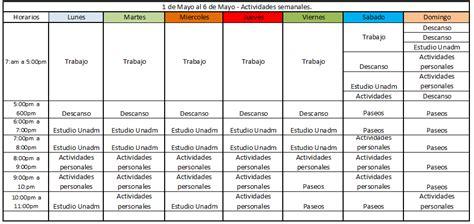 unadm cronograma de actividades diarias aar 243 n magallanes g 243 mez mayo 2015
