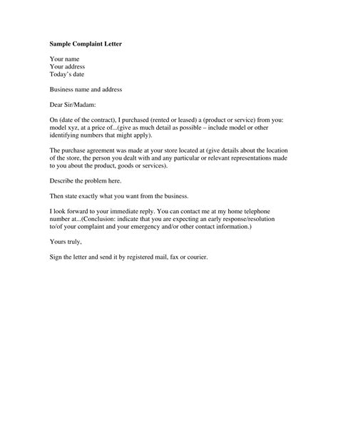 complaint letter examples word examples