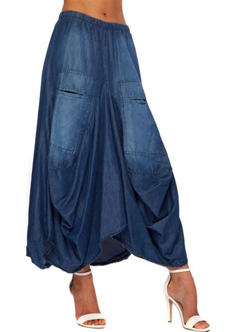 Layered Maxi Skirt denim skirt layered asymmetric maxi skirt