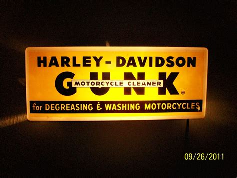 harley davidson lighted signs 1950 s harley davidson lighted quot gunk quot dealer sign