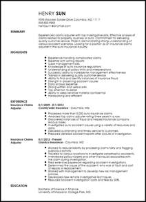 Independent Insurance Adjuster Sle Resume by Free Traditional Insurance Claims Adjuster Resume Template Resumenow