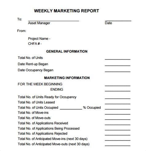 weekly marketing report template sle marketing report template 9 free documents