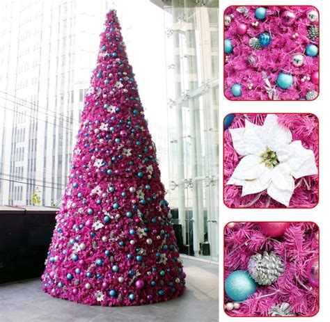 3 meters high pink compact christmas tree artificial tree
