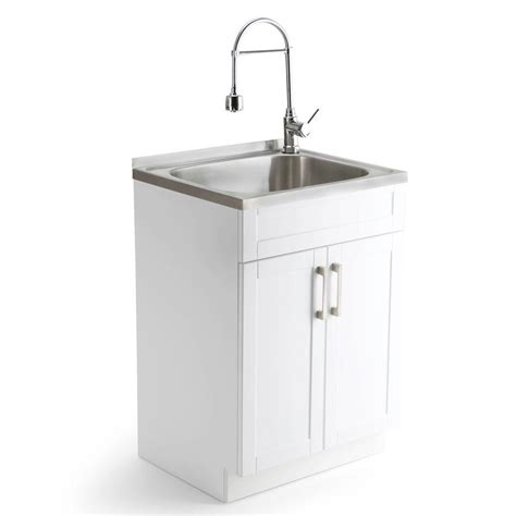Smallest Bathroom Sinks - simpli home hennessy 23 6 in w x 19 7 in d x 35 7 in h stainless steel laundry sink and wood