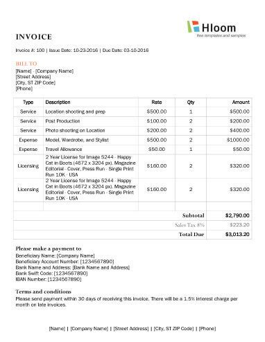 8 photography invoice templates
