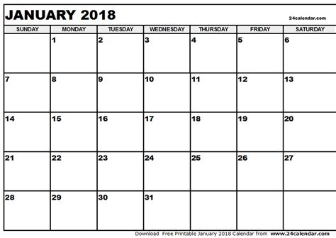 January 2018 Calendar Word Templates Printable And Editable Word Schedule Template