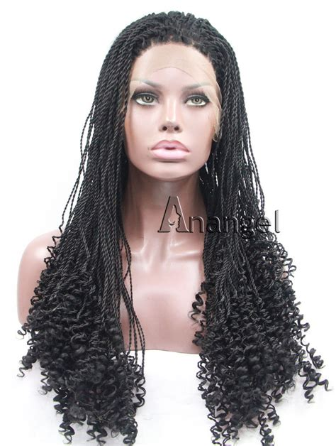 braided wigs for african women long black braided curly synthetic lace front wig for